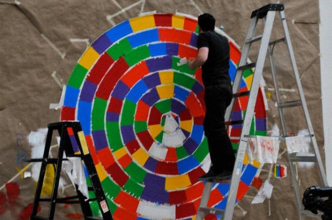 Artista realizando obra en el Art Institute Chicago, 2010. Fotografía Joel Ortega ©
