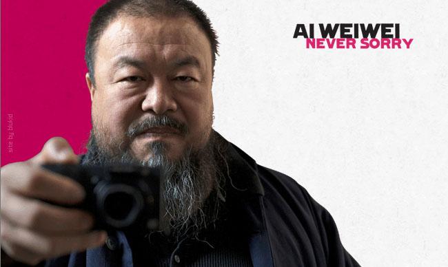 Ai WeiWei Never Sorry  http://www.artandcointv.com/blog/wp-content/uploads/2012/02/aiweiweineversorry.jpg