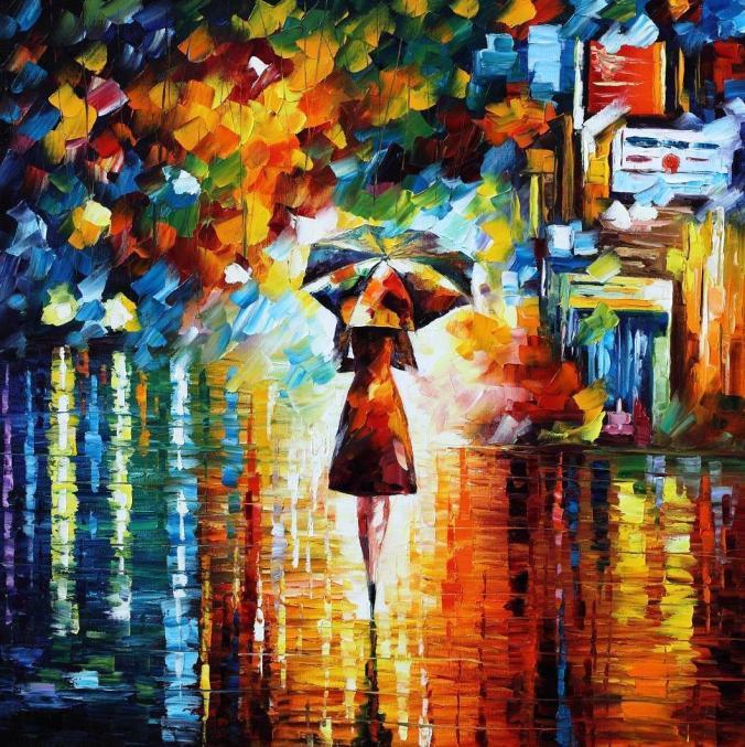 Rain princess. Leonid Afremov. http://afremov.com/RAIN-PRINCESS-Palette-knife-Oil-Painting-on-Canvas-by-Leonid-Afremov-Size-30-x30.html.
