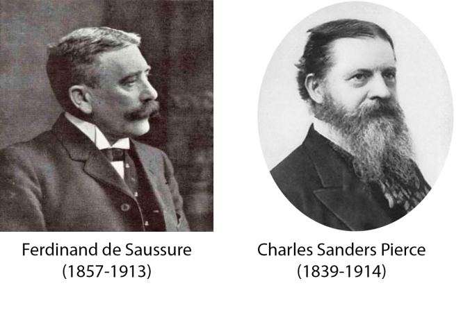 Peirce & Saussure. Padres de la semiótica. https://gc4amt.files.wordpress.com/2014/01/sanders-and-pierce.jpg